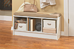 3 Cube White Storage Bench