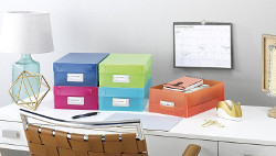 declutter with storage boxes