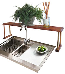 Home Basics Pine Over-the-Sink Shelf Brown