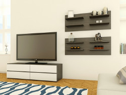 Allure Wall Shelving Unit, Ebony