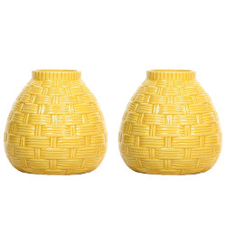 Hosley's Set of 2 Ceramic Yellow Vases