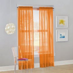 Solid Orange Sheer Curtains (Pack of 2)