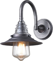1-Light Wall Sconce in Weathered Zinc Finish