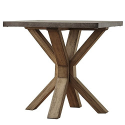 Zinc Top Weathered Oak Wood End Table