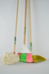 brooms and cleaning tools