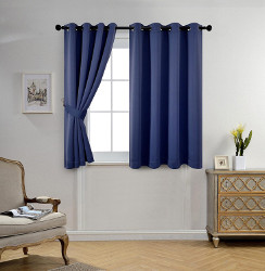 Miuco Blackout Window Curtain Panels Navy Blue