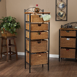 Southern Enterprises Storage Unit with Wicker Baskets