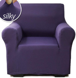 P&R Bedding Microsuede Purple Chair Slipcover