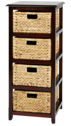 4-Tier Storage Unit With Natural Baskets