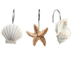 Decorative Seashell Shower Curtain Hooks